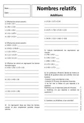 Additions – Nombres relatifs – 5ème – Exercices corrigés