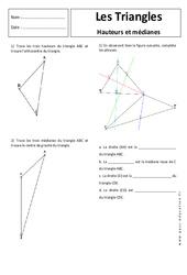 Hauteur - Médiane - Triangles - 5ème - Exercices corrigés - Géométrie