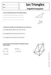 Inégalité triangulaire - Triangles - 5ème - Exercices corrigés - Géométrie