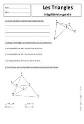 Inégalité triangulaire - Triangles - Exercices corrigés - 5ème - Géométrie