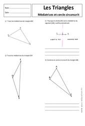 Médiatrice et cercle circonscrit - Triangles - Exercices corrigés - 5ème - Géométrie