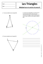 Médiatrice - Cercle circonscrit - Triangles - 5ème - Exercices corrigés - Géométrie