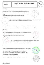 Angle inscrit – Angle au centre – 3ème – Cours – Géométrie