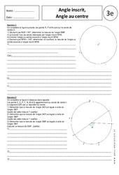 Angle inscrit - Angle au centre – 3ème – Exercices corrigés – Géométrie - Brevet des collèges