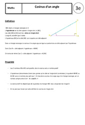 Cosinus d'un angle – 3ème – Cours – Géométrie
