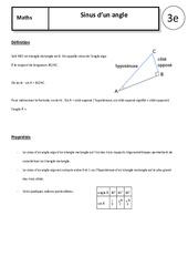 Sinus d'un angle – 3ème – Cours – Trigonométrie