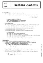 Fractions – Quotients – 5ème – Cours