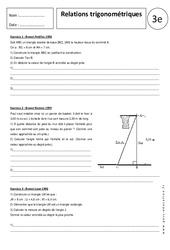 Relations trigonométriques – 3ème – Exercices corrigés – Trigonométrie – Brevet des collèges