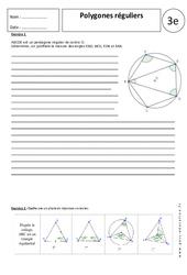 Polygones réguliers – 3ème – Exercices corrigés – Géométrie