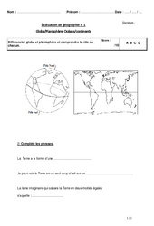 Globe - Planisphère - Océans - Continents - Evaluation - Ce2