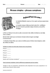 Phrases simples - Phrases complexes - Cm2 - Exercices corrigés - Grammaire - Cycle 3