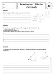 Triangles - Agrandissement - Réduction – Exercices corrigés – 3ème – Géométrie
