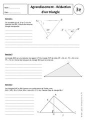Triangles - Agrandissement - Réduction – 3ème - Exercices corrigés – Géométrie - Brevet des collèges