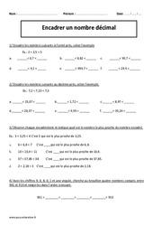 Encadrer un nombre décimal – Cm2 – Exercices corrigés – Numération – Cycle 3