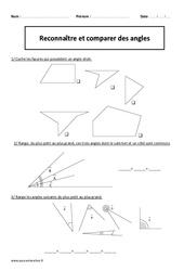 Reconnaître et comparer des angles – Cm2 – Exercices corrigés – Géométrie – Cycle 3