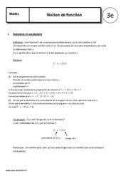 Notion de fonction – 3ème – Cours – Organisation et gestion des données