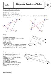 Réciproque théorème de Thalès – 3ème – Cours – Géométrie
