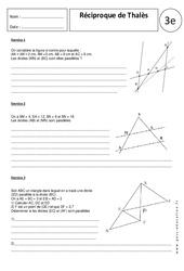 Réciproque théorème de Thalès – 3ème – Exercices corrigés – Géométrie – Brevet des collèges