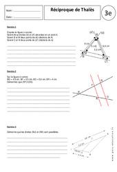 Réciproque théorème de Thalès – Exercices corrigés – 3ème – Géométrie