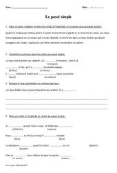 Passé simple – Cm1 – Evaluation
