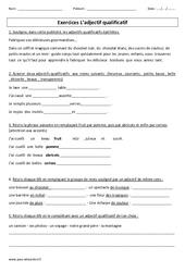 Adjectif qualificatif – Cm1 – Cm2 – Exercices corrigés – Grammaire – Cycle 3