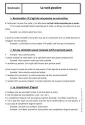 Voix passive – 5ème – Cours – Grammaire – Collège
