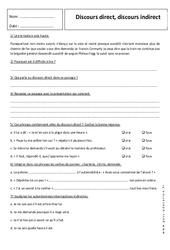 Discours direct – Discours indirect – Exercices corrigés – 5ème – Grammaire – Collège