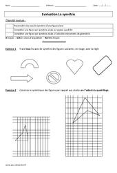 Symétrie – Cm1 – Cm2 – Evaluation – Géométrie – Cycle 3