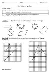 Symétrie – Evaluation – Cm1 – Cm2