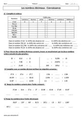 Nombres décimaux – Connaissance – Exercices corrigés – Cm1 – Cm2 Numération – Cycle 3