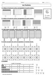 Fractions –  Cm1 – Cm2 - Exercices corrigés – Numération – Cycle 3