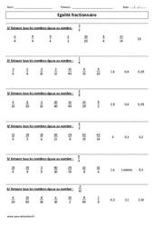 Egalité fractionnaire – Exercices corrigés – Cm1 – Cm2 – Numération – Cycle 3