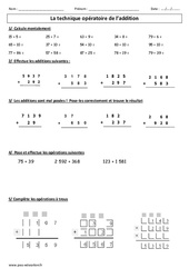 Technique opératoire de l'addition – Ce2 – Cm1 – Exercices corrigés – Calcul – Cycle 3