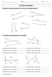 Droites parallèles – Ce2 – Exercices corrigés – Géométrie – Cycle 3