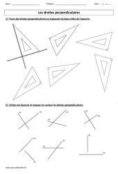 Droites perpendiculaires – Ce2 – Cm1 – Exercices corrigés – Géométrie – Cycle 3