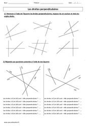Droites perpendiculaires – Cm1 – Cm2 – Exercices corrigés – Géométrie – Cycle 3