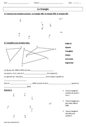Triangle – Tracé – Vocabulaire – Ce2 – Cm1 – Cm2 – Exercices