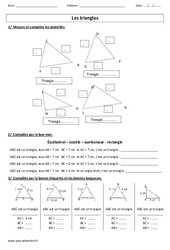 Nature des triangles – Ce2 – Cm1 – Cm2 – Exercices