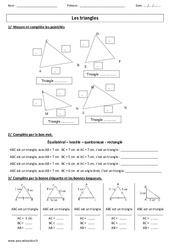 Nature des triangles – Ce2 – Cm1 – Cm2 – Exercices