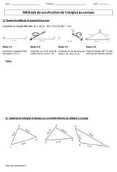 Méthode de construction de triangles au compas – Cm1 – Cm2 – Exercices – Géométrie – Cycle 3