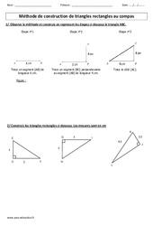 Méthode de construction de triangles au compas – Exercices à imprimer