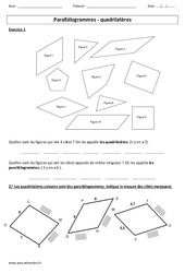 Parallélogrammes – Quadrilatères – Exercices corrigés – Cm1 – Cm2 – Géométrie – Cycle 3