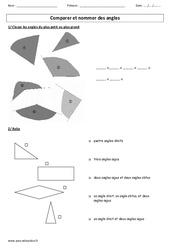 Comparer et nommer des angles – Ce2 – Cm1 – Cm2 – Exercices corigés