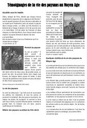 Vie des paysans au Moyen Age – Ce2 – Lecture documentaire – Exercices corrigés – Cycle 3