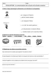 Romanisation de la Gaule – Ce2 – Evaluation – Gaule romaine