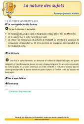 La nature des sujets - CM1 - Soutien scolaire - Aide aux devoirs