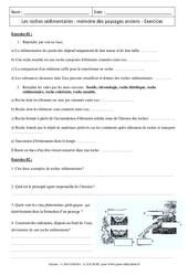 Roches sédimentaires - Mémoire des paysages anciens – 5ème – Exercices corrigés - Remédiation – Géologie – SVT