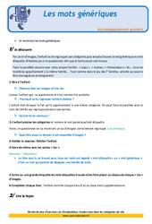 Les mots génériques – CE1 – Soutien scolaire – Aide aux devoirs