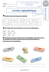 Je connais l'alphabet et l'ordre alphabétique – CE1 – Exercices corrigés