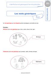 J'identifie les mots génériques et les mots particuliers – CE1 – Leçon